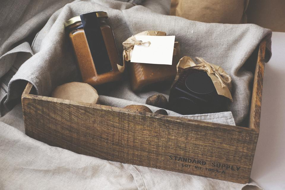 wooden crate with small jars