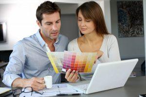 couple choosing color scheme